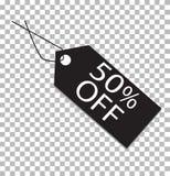 etiqueta del 50 por ciento en transparente icono de la etiqueta del 50 por ciento Imagen de archivo libre de regalías