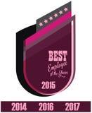 Etiqueta del promo del vector del mejor premio del servicio del empleado del año Foto de archivo libre de regalías