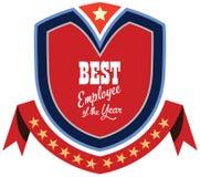 Etiqueta del promo del vector del mejor premio del servicio del empleado del año Imagen de archivo libre de regalías