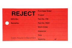 Etiqueta del rechazo del departamento de la calidad Imágenes de archivo libres de regalías