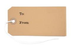 Etiqueta del regalo imágenes de archivo libres de regalías