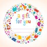 Etiqueta del regalo de cumpleaños Fotografía de archivo