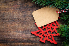Etiqueta del regalo de la Navidad con el espacio de la copia Foto de archivo libre de regalías