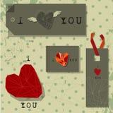 Etiqueta del regalo de la tarjeta del día de San Valentín Imagen de archivo