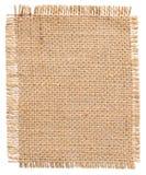 Etiqueta del remiendo de la tela de la arpillera, pedazo de la harpillera, paño de saco de yute de lino fotografía de archivo libre de regalías