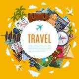 Etiqueta del turismo del viaje con las atracciones ilustración del vector