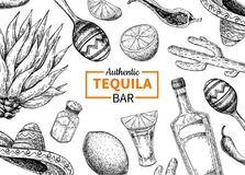 Etiqueta del vector de la barra del Tequila Dibujo mexicano de la bebida del alcohol Botella stock de ilustración