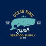 Etiqueta del vector de rey Seafood Supplyer Retro del océano o Fotografía de archivo