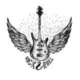 Etiqueta del vector del vintage con rock-and-roll para siempre, guitarra Fotografía de archivo libre de regalías