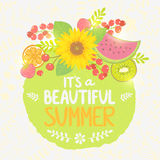 Etiqueta del verano de la fruta Fotos de archivo libres de regalías