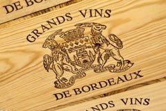 Etiqueta del vino de Burdeos Imagenes de archivo