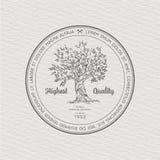 Etiqueta del vintage con el árbol Fotografía de archivo libre de regalías