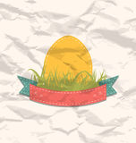 Etiqueta del vintage con el huevo de Pascua Imagen de archivo libre de regalías