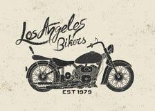 Etiqueta del vintage con la motocicleta Fotos de archivo