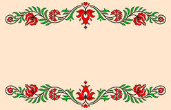 Etiqueta del vintage con motivos florales húngaros tradicionales Imágenes de archivo libres de regalías