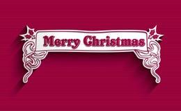 Etiqueta del vintage de la Feliz Navidad Foto de archivo libre de regalías