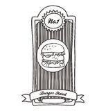 Etiqueta del vintage de la hamburguesa Fotos de archivo