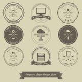 Etiqueta del vintage de la tienda de informática Imagen de archivo