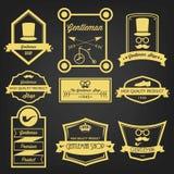 Etiqueta del vintage de la tienda del caballero Imágenes de archivo libres de regalías