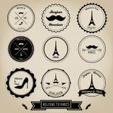 Etiqueta del vintage de París Francia Fotografía de archivo