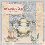etiqueta del vintage del té árabe Ilustración Fotografía de archivo