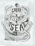 Etiqueta dibujada mano del vintage con un ancla y letras Handrawne ilustración del vector