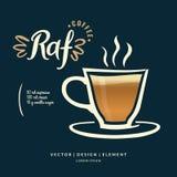 Etiqueta dibujada mano moderna de las letras para la Royal Air Force de la bebida del café Foto de archivo