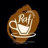 Etiqueta dibujada mano moderna de las letras para la Royal Air Force de la bebida del café Imagenes de archivo