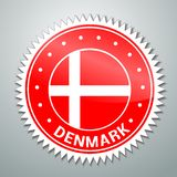 Etiqueta dinamarquesa da bandeira ilustração stock