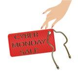 A etiqueta do ícone da venda de segunda-feira do Cyber em uma mão fêmea chain isolou o vetor branco do fundo Fotografia de Stock Royalty Free