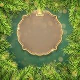 Etiqueta do abd da beira dos ramos de árvore do Natal com espaço para o texto Eps 10 ilustração royalty free