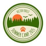 Etiqueta do acampamento de verão do vintage Fotografia de Stock