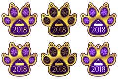 Etiqueta do ano novo da pata do cão Jogo das etiquetas Fotos de Stock Royalty Free
