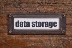 Etiqueta do armário de arquivo do armazenamento de dados  Fotografia de Stock
