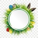 Etiqueta do círculo das orelhas da lebre dos ovos da páscoa transparente ilustração royalty free
