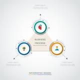 A etiqueta do círculo do infographics 3D do vetor com setas assina e 3 opções Foto de Stock Royalty Free