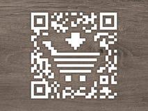 Etiqueta do código do conceito QR com um carro de compra ilustração royalty free