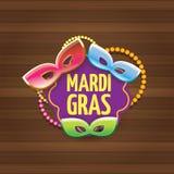 Etiqueta do carnaval do carnaval de Nova Orleães do vetor com máscara e texto no fundo de madeira da parede partido do carnaval d Fotografia de Stock