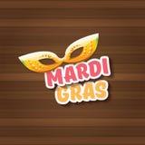 Etiqueta do carnaval do carnaval de Nova Orleães do vetor com máscara e texto no fundo de madeira da parede partido do carnaval d Imagens de Stock