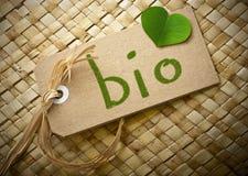 Etiqueta do cartão de Natual com a palavra bio Imagens de Stock