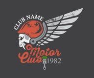Etiqueta do crânio do motor e clube e etiqueta Fotografia de Stock Royalty Free