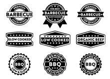 A etiqueta do crachá do selo do vetor para o produto de venda de mercado do assado, carne superior, ponto baixo lento cozinhou, q Imagens de Stock