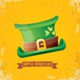 Etiqueta do dia dos patricks de Saint do vetor com chapéu verde e fita com o texto isolado no fundo alaranjado do grunge Saint Pa ilustração do vetor