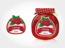 Etiqueta do doce de cereja com frasco Imagens de Stock