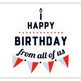 Etiqueta do feliz aniversario com bandeiras Fotografia de Stock Royalty Free