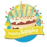 Etiqueta do feliz aniversario com bolo grande ilustração royalty free