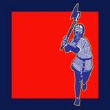 Etiqueta do guerreiro ilustração royalty free