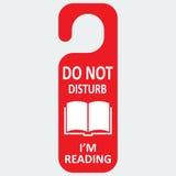 A etiqueta do hotel do vetor não perturba com livro de leitura Foto de Stock