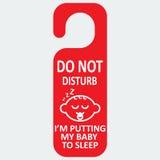 A etiqueta do hotel do vetor não perturba com sono do bebê Fotos de Stock Royalty Free
