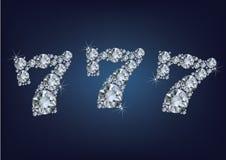 A etiqueta do loto do casino do jackpot fez muitos diamantes no fundo escuro Foto de Stock